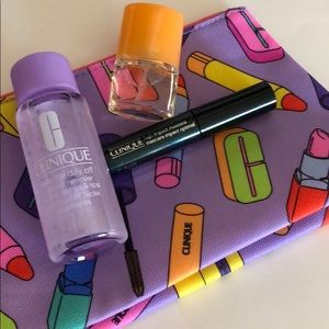Clinique cosmetic bag and travel size beauty items